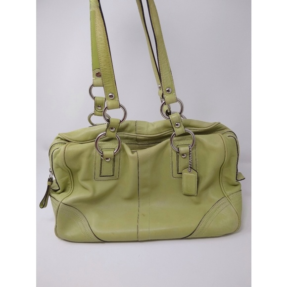 Coach Handbags - Coach | lime green leather shoulder bag